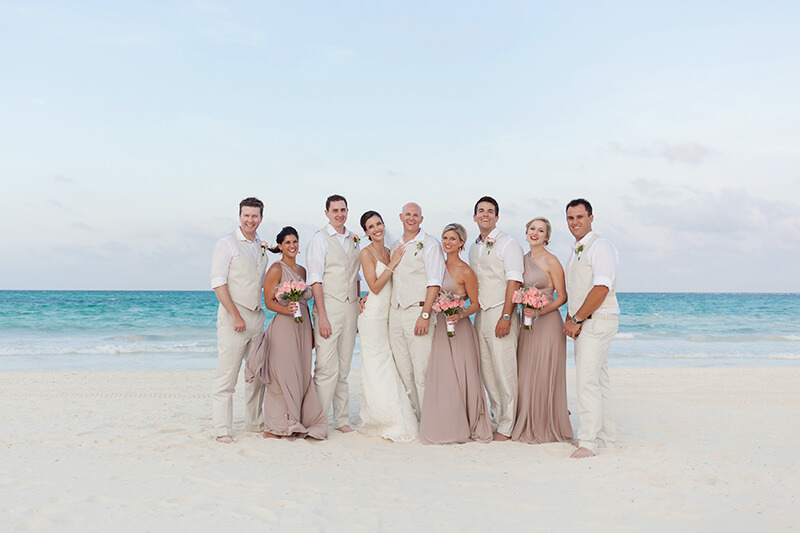 Bridal party photo shoot at Secrets Maroma Beach Riviera Cancun Resort
