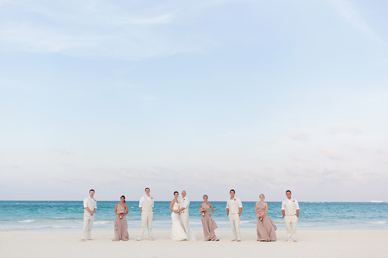 Bridal party after wedding ceremony at Secrets Maroma Beach wedding
