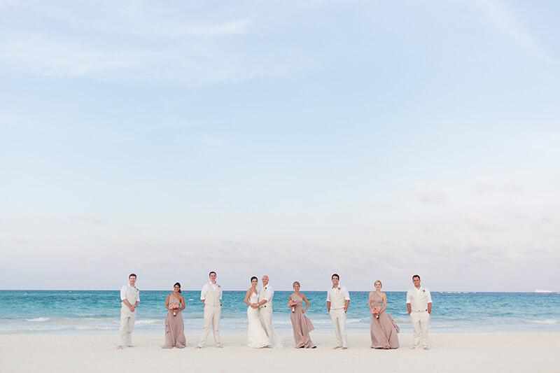Bridal party after wedding ceremony at Secrets Maroma Beach wedding