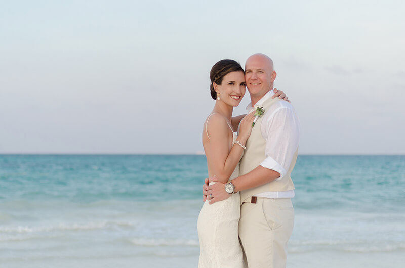 Couple portrait at Secrets Maroma Beach wedding