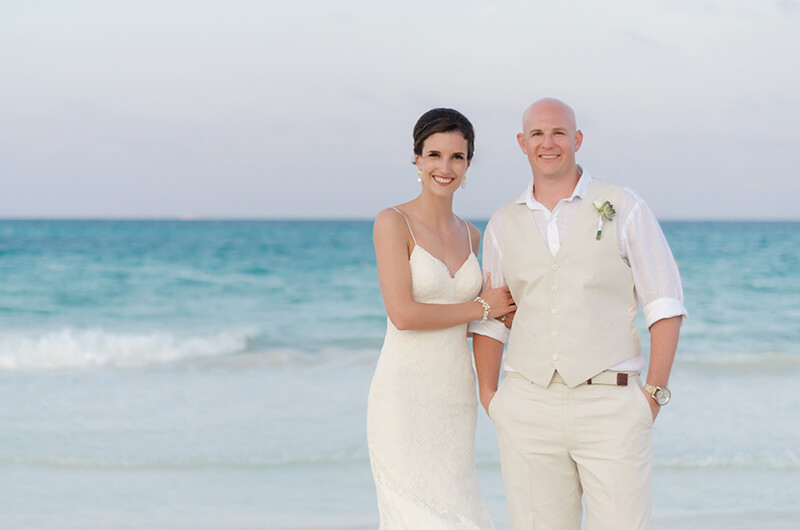 Couple portrait at the beach at Secrets Maroma Riviera Cancun Resort