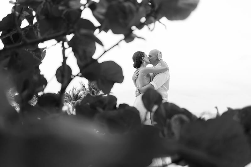 Black and White couple portrait at Secrets Maroma Beach Riviera Cancun Resort
