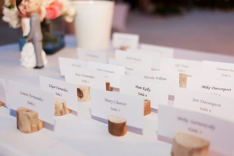 Detail close up picture of tag name at Secrets Maroma Beach Wedding reception