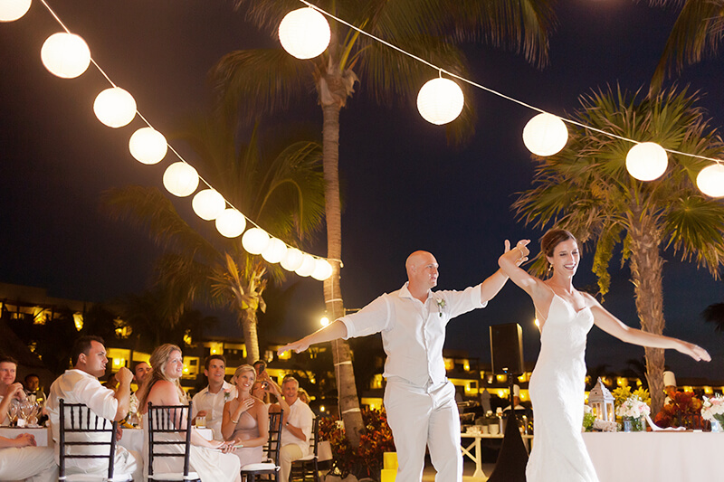 Couple first dance at wedding venue Secrets Maroma Beach Riviera Cancun Resort