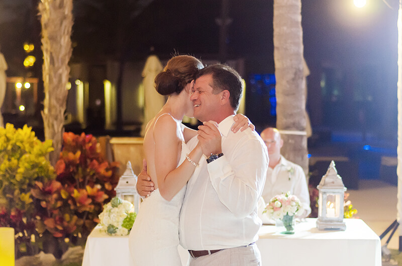 Father and Bride in first dance at Secrets Maroma Beach wedding party