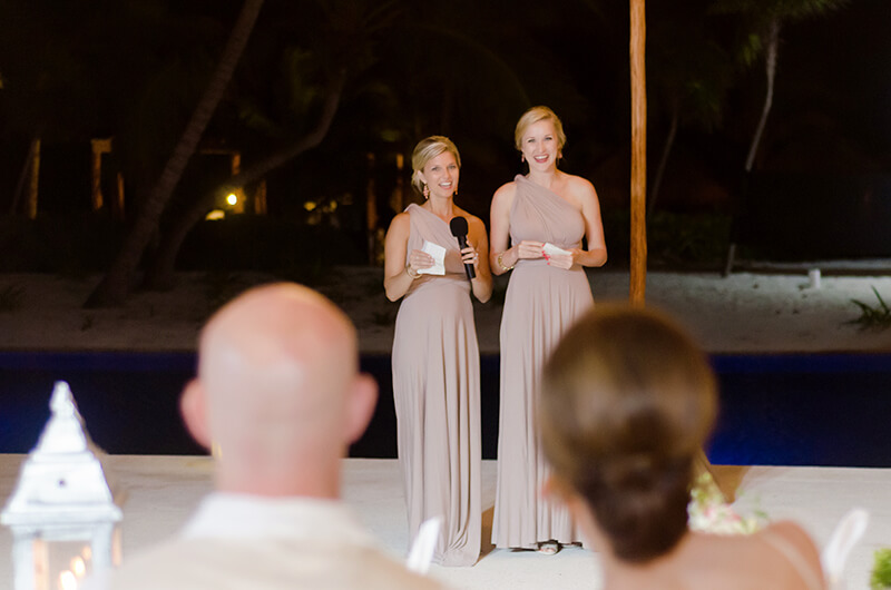 Bridesmaids speech at wedding reception at Secrets Maroma Beach Riviera Cancun Resort