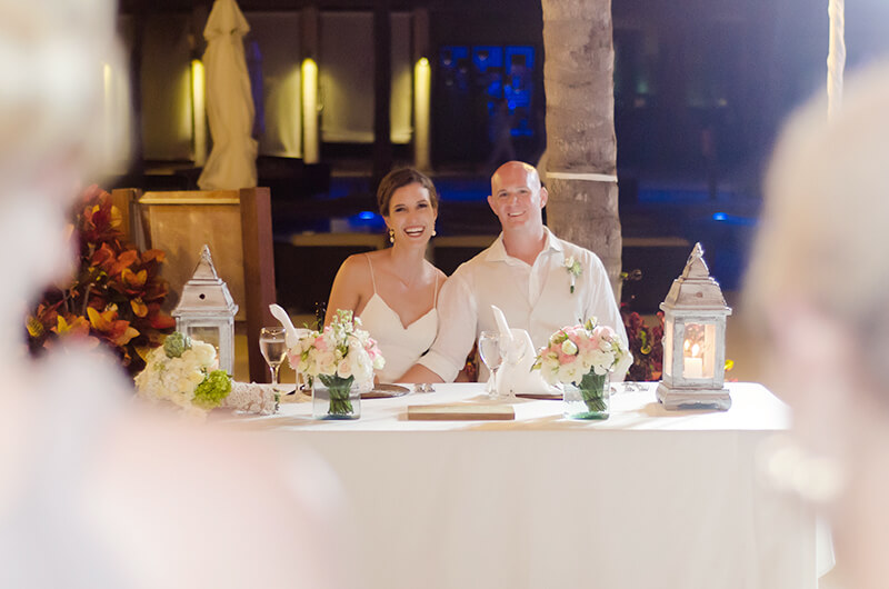 Couple portrait at wedding dinner at Secrets Maroma Beach Riviera Cancun Resort