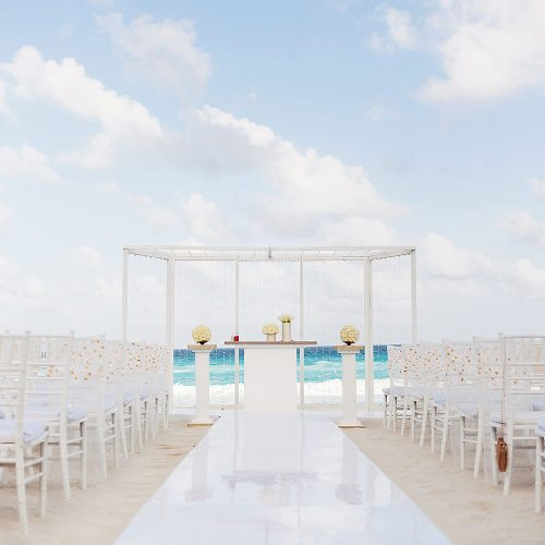 Set up at Hard Rock Cancun beach for wedding photography