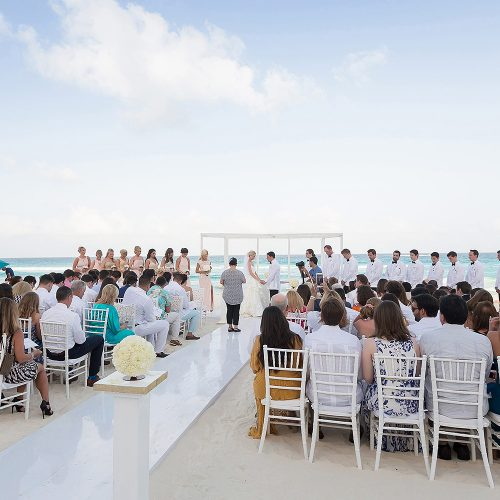 Beach wedding photography at Hard Rock Cancun