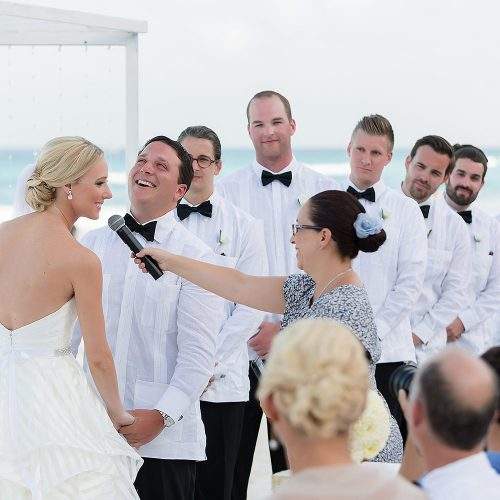Couple getting married at Hard Rock Cancun beach wedding