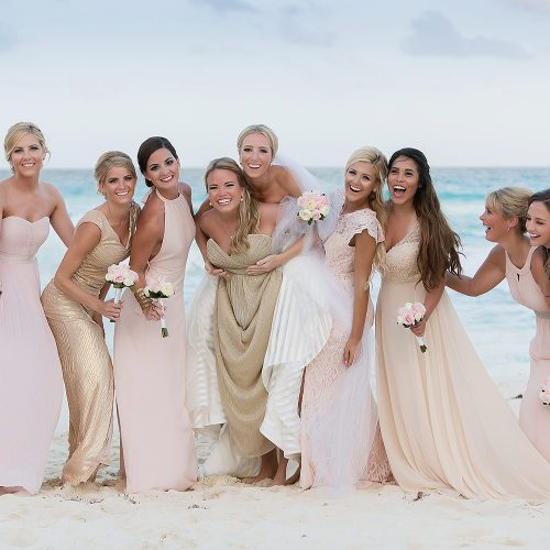 Bridesmaids photoshoot at Hard Rock Cancun beach wedding