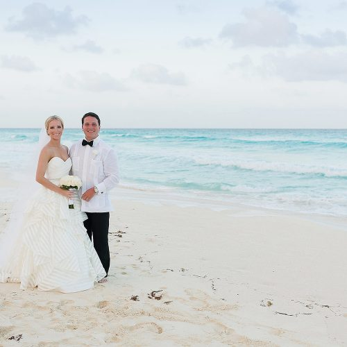 Couple portrait at Hard Rock Cancun Beach