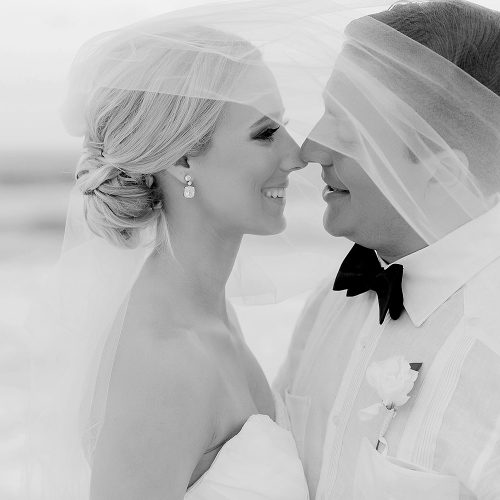 Couple closeup under veil at Hard Rock Cancun beach wedding
