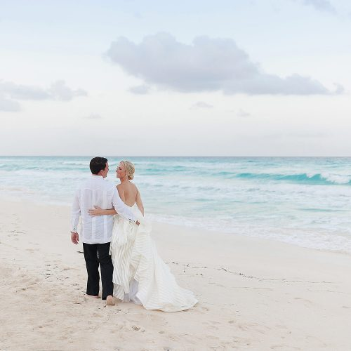 Bride and groom portrait on the beach at Hard Rock Cancun