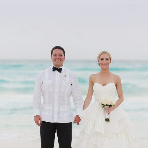 Couple portrait at Hard Rock Cancun beach wedding