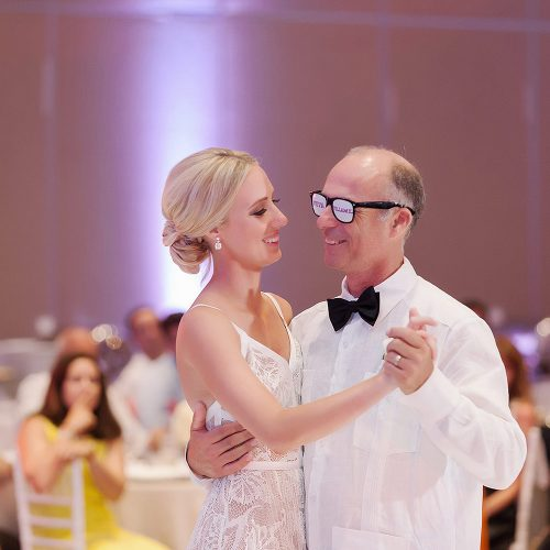 bride and Father dance at Hard Rock Cancun wedding