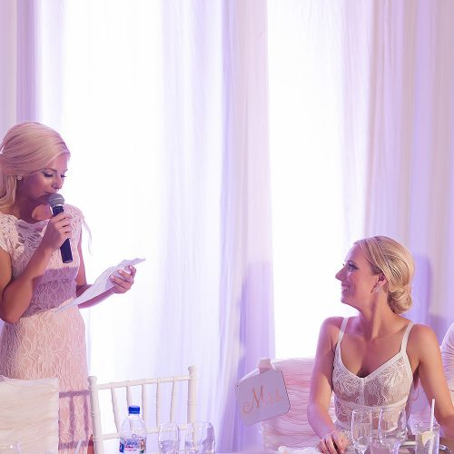 Speech moment at Hard Rock Cancun wedding reception