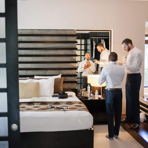 Groomsmen getting ready at Azul Fives Hotel, Riviera Maya