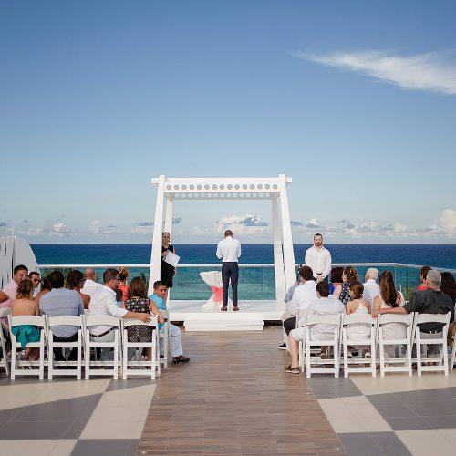Wedding ceremony location on sky-deck at Azul Fives Hotel, Riviera Maya