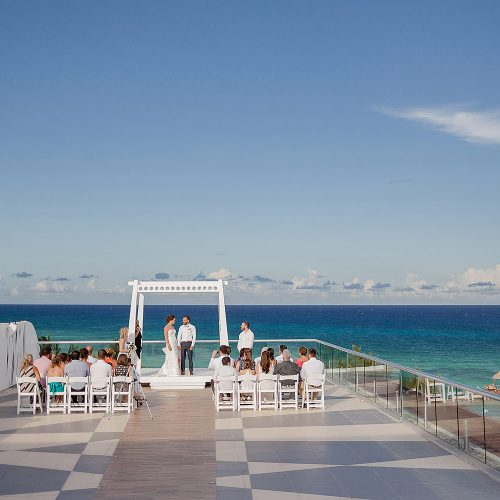 Wedding ceremony on the sky deck at Azul Fives Hotel, Riviera Maya