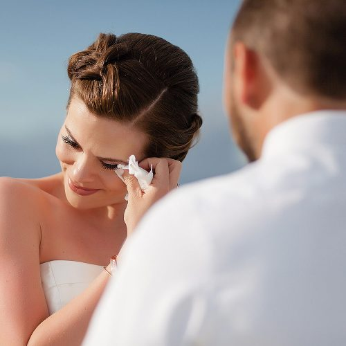 Bride crying during ceremony at Azul Fives Hotel, Riviera Maya