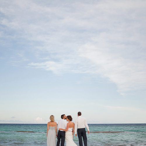 bridal party on beach after wedding at Azul Fives Hotel, Riviera Maya