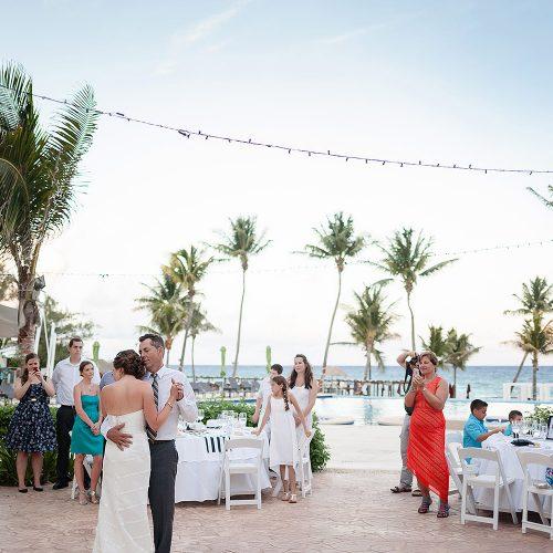 Poolside wedding reception at Azul Fives Hotel, Riviera Maya