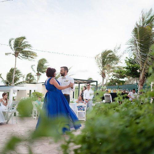 Son dancing with mother at Azul Fives Hotel, Riviera Maya wedding
