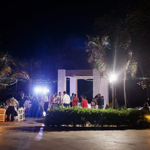 poolside wedding reception at Azul Fives Hotel, Riviera Maya