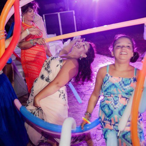 Guests dancing at wedding reception at Azul Fives Hotel, Riviera Maya