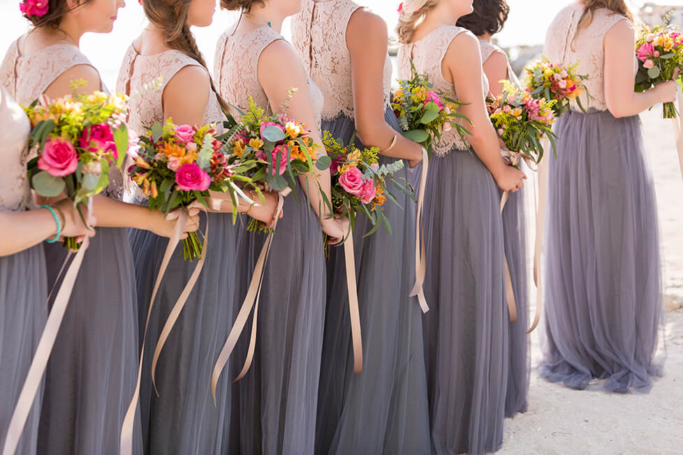 Close up of bridesmaids at wedding in Cancun