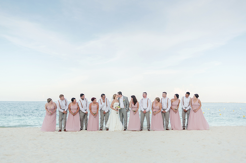 Bridal party on beach at Excellence Playa Mujeres