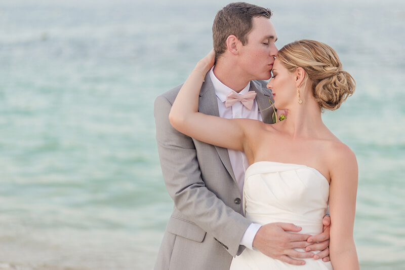 Close up of bride and groom after wedding in Cancun