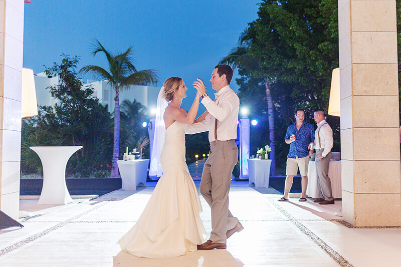 Bride and grooms first dance at Excellence Playa Mujeres wedding