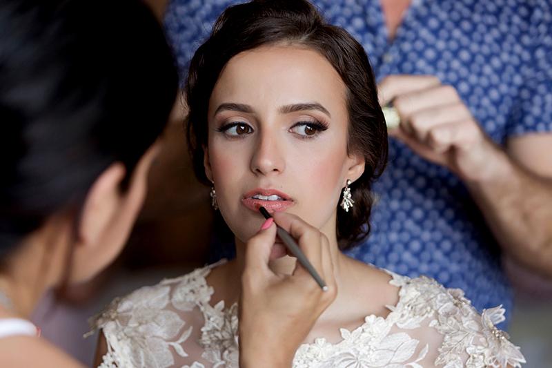 Bride getting ready for wedding in Tulum