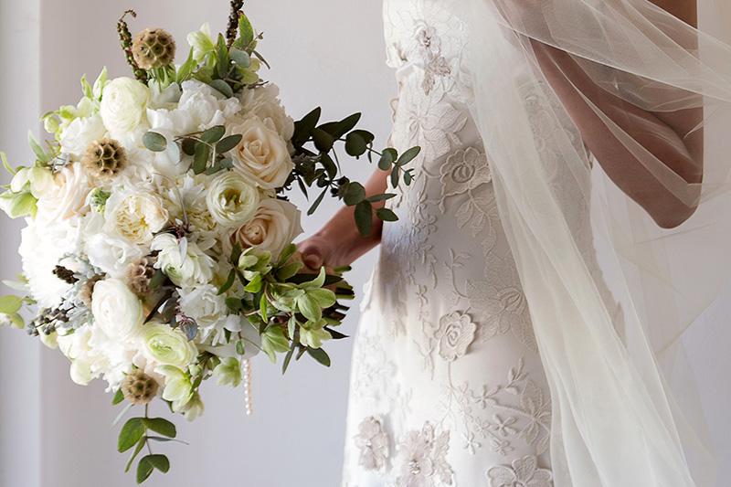 Close up of flowers at Tulum wedding