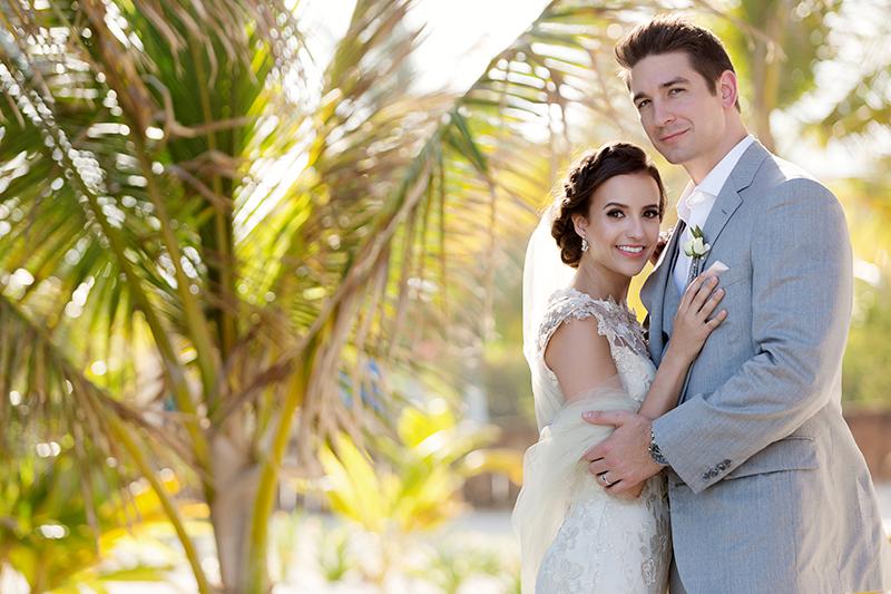 Bride and groom portrait at wedding in Tulum