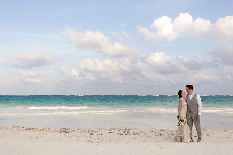 Bride and Groom on beach in Tulum
