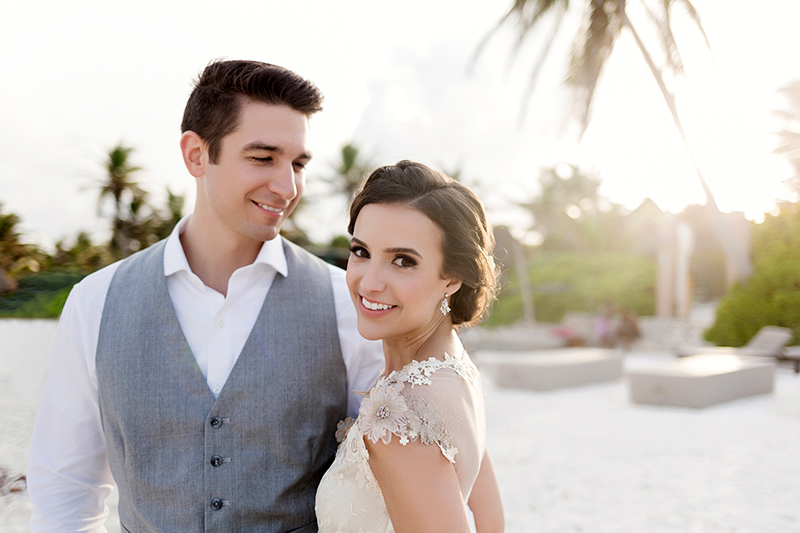Bride and groom on Beach in Tulum wedding