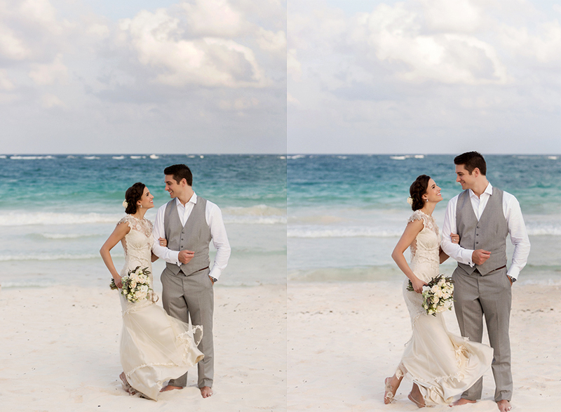 Bride and groom on beach in Tulum after wedding