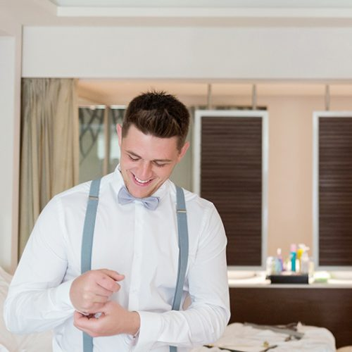 Groom preparing for wedding | Dean Sanderson Weddings