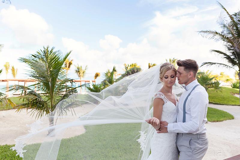 Bride and Groom at Royalton Cancun Resort.