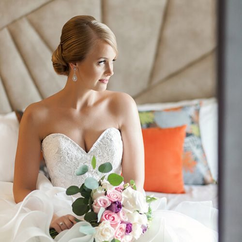 Portrait of bride in room at Azul Fives Hotel, Riviera Maya