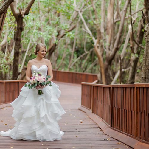 Portrait of bride on walkway at Azul Fives Hotel, Riviera Maya