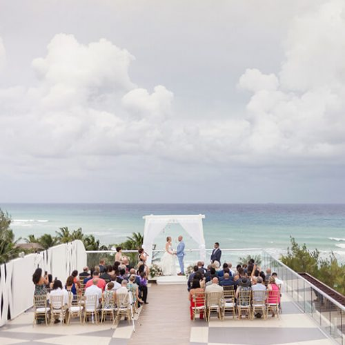 Weddding ceremony on sky deck at Azul Fives Hotel