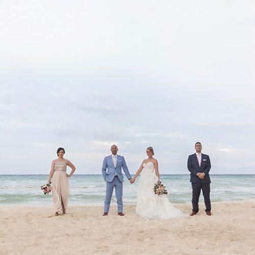 Bridal party on beach at Azul Fives Hotel, Rivera maya