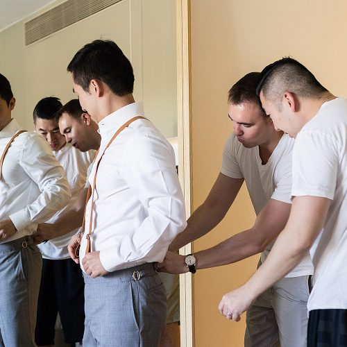 Groomsmen getting ready for wedding at Finest Playa Mujeres Resort