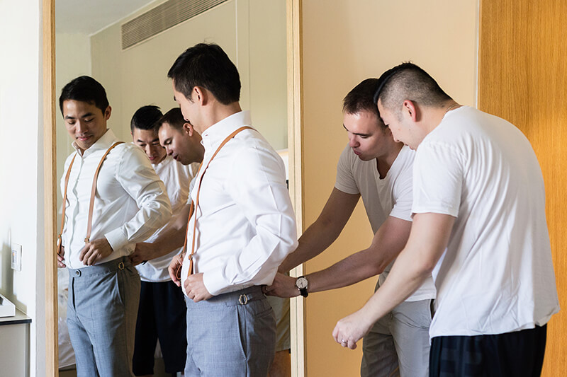 Groomsmen getting ready at Finest Playa Mujeres Wedding