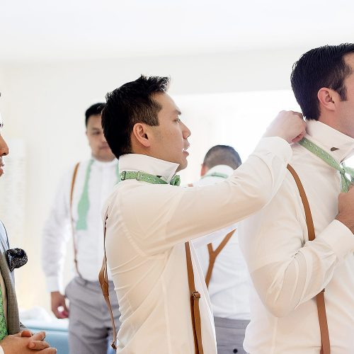 Groomsman getting ready at Finest Playa Mujeres Resort, Cancun