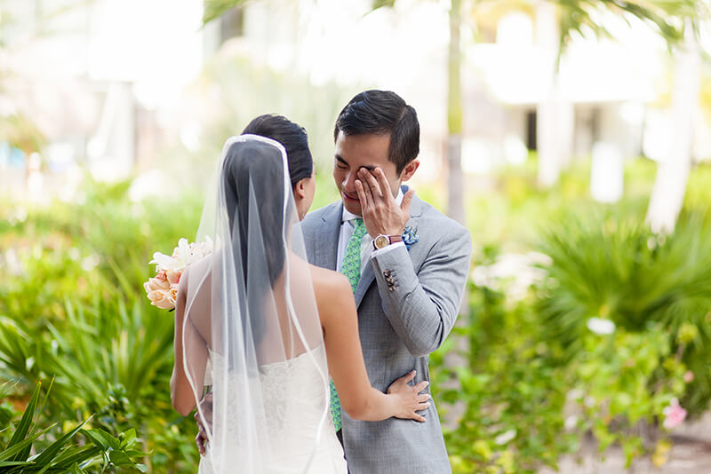 Groom crying after first look at Finest Playa Mujeres Resort